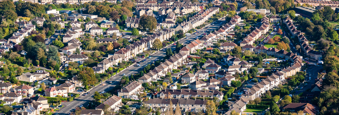 aerial view of a housing development in the UK