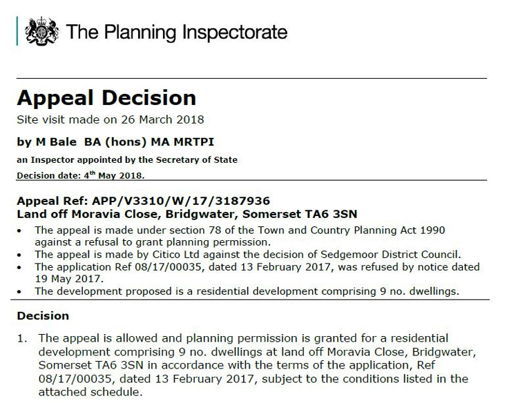 Planning Appeal Decision